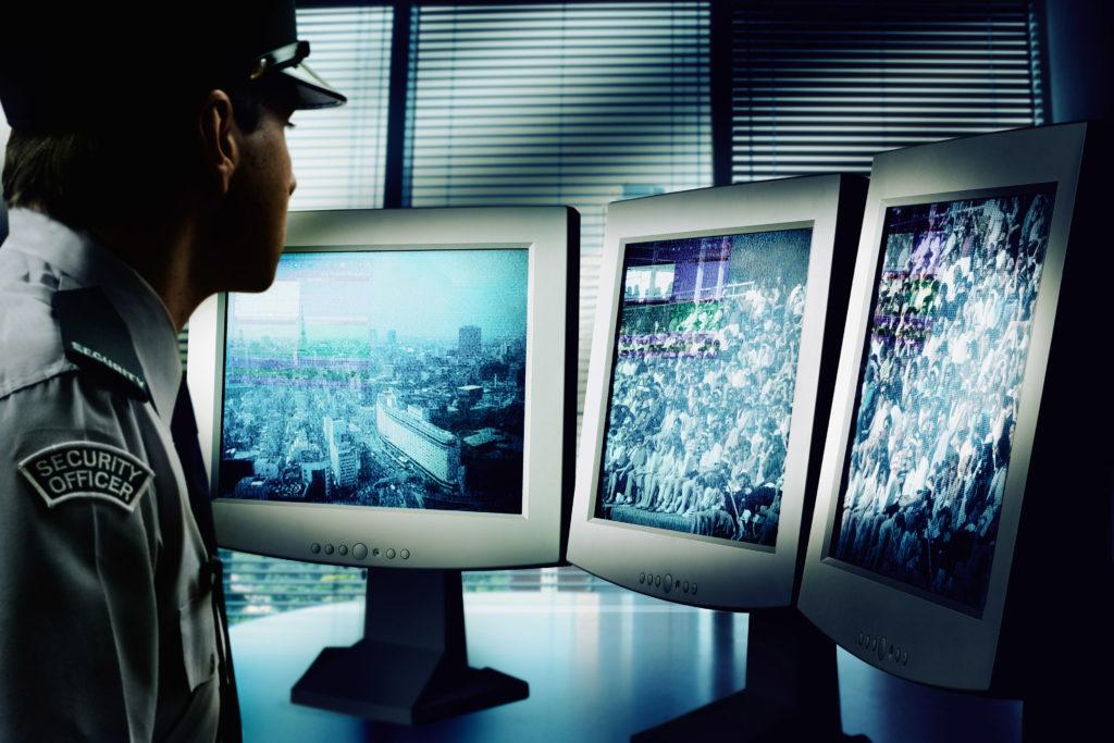 Security Guard Watching Monitors bxp66767h